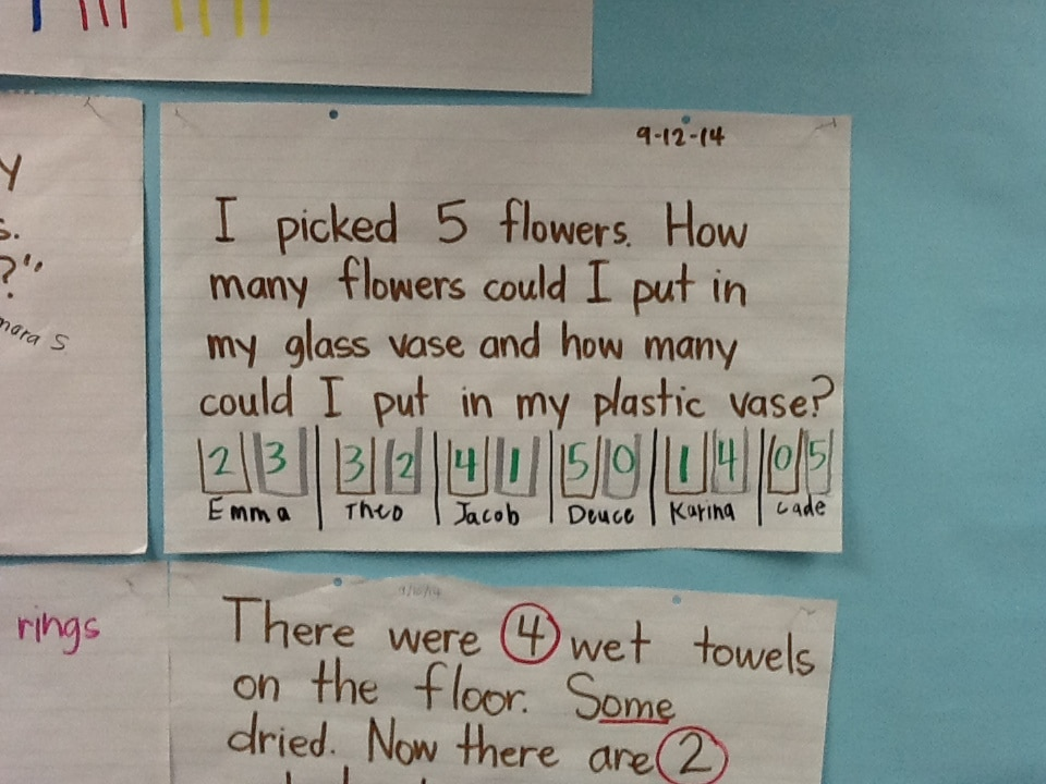Math Chart - Story Problem with 2 vases (multiple answers)